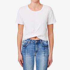 Gathered Hem Crop Tee  BRIGHT WHITE  hi-res