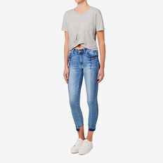 Gathered Hem Crop Tee  MID GREY MARLE  hi-res