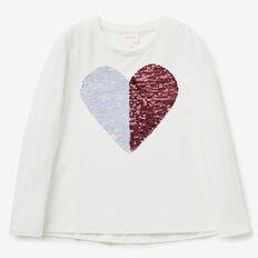 Sequin Heart Tee  CANVAS  hi-res