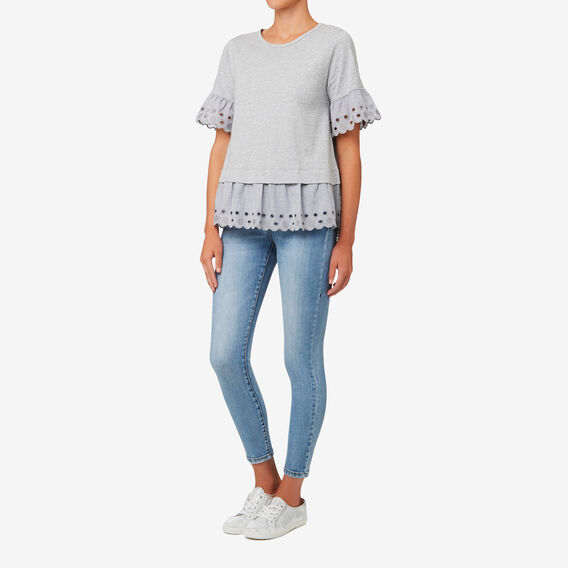 Scallop Edge Tee  MID GREY MARLE  hi-res