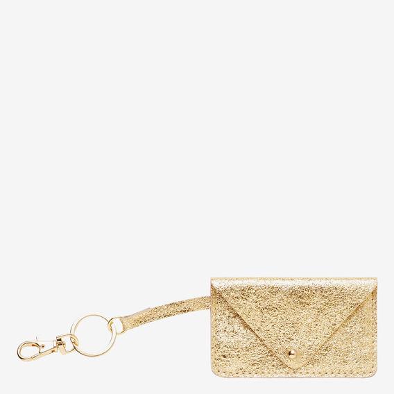 Leather Card Keyring  GOLD  hi-res