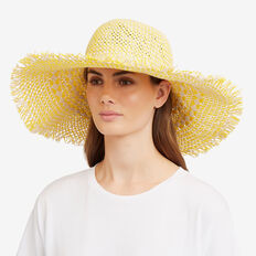 Wide Brim Woven Hat  NATURAL/ DAFFODIL  hi-res