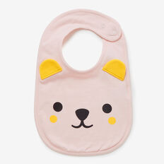 Novelty Bear Bib  SOFTEST PINK  hi-res