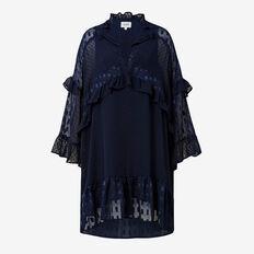 Metallic Dobby Frill Dress  INK  hi-res