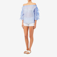 Ruffled Sleeve Top  SPOT  hi-res