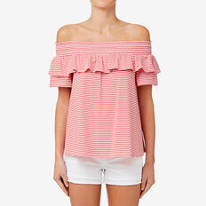 Mixed Stripe Top  CRIMSON STRIPE  hi-res