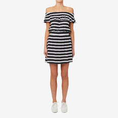 Shirred Waist Dress  BLACK/WHITE STRIPE  hi-res