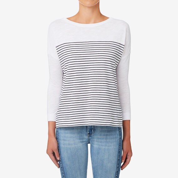 Breton 3/4 Stripe Top  DEEP NAVY STRIPE  hi-res