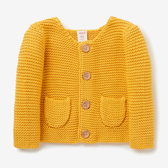 Knit Pockets Cardigan  MUSTARD  hi-res