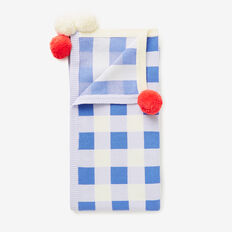 Gingham Pom Pom Blanket  MISTY BLUE  hi-res