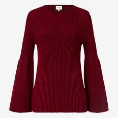 Flare Sleeve Rib Sweater  PLUM  hi-res