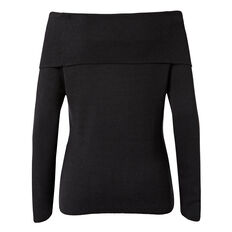 Chunky Off Shoulder Sweater  BLACK  hi-res