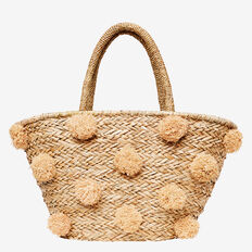 Mini Pom Pom Tote  NATURAL  hi-res