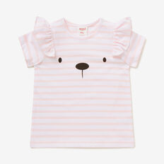 Stripe Frill Face Tee  ICE PINK/WHITE  hi-res