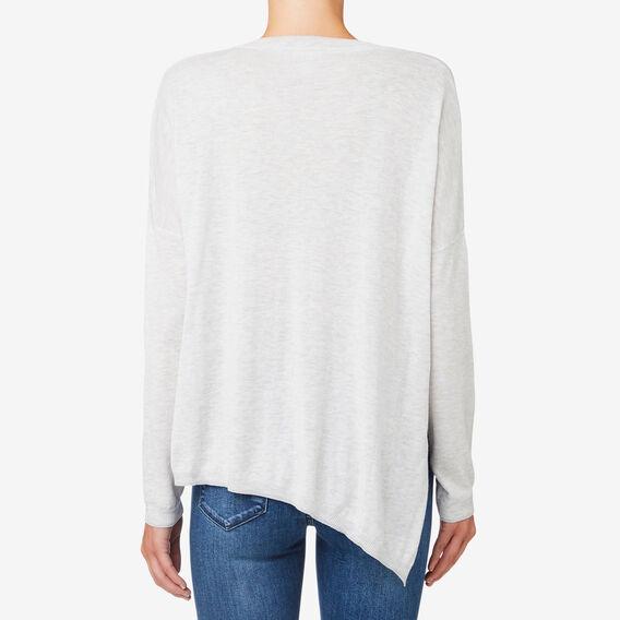 V Neck Asymmetrical Sweater  LIGHT GREY MARLE  hi-res
