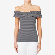 Double Frill Fitted Top  STRIPE  hi-res