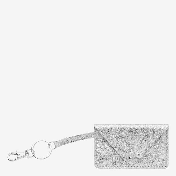 Leather Card Keyring  SILVER  hi-res