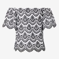 Broderie Off Shoulder Top  WHITE/BLACK  hi-res