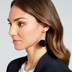 Ruffle Pom Pom Earrings  BLACK  hi-res