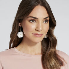 Ruffle Pom Pom Earrings  WHITE  hi-res