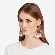 Oval Tassel Earrings  GOLD/PINK  hi-res