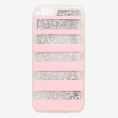 Stripe Glitter Phone Case 6  LIGHT PINK  hi-res