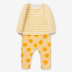 Layered Stripe Jumpsuit  MUSTARD  hi-res