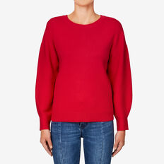 Blouson Sleeve Sweater  BOLD RED  hi-res