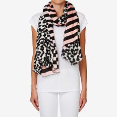 Ocelot Stripe Border Scarf  WHITE/ PINK  hi-res