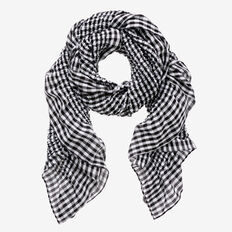 Ruffle Check Scarf  BLACK/WHITE  hi-res