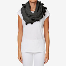 Lightweight Pom Pom Snood  BLACK/ GREY  hi-res