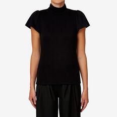 High-Neck Frill Sleeve Top  BLACK  hi-res