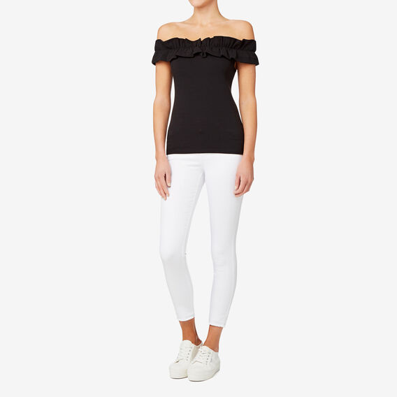 Double Frill Fitted Top  BLACK  hi-res