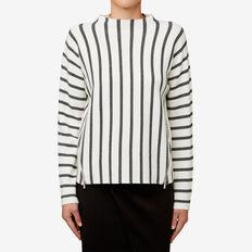 Jacquard Zip Sweater  CREAM STRIPE  hi-res