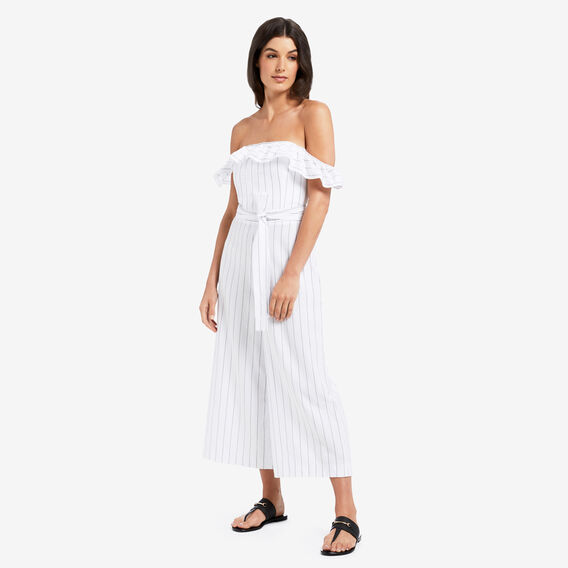 Off Shoulder Jumpsuit  BLACK/WHITE STRIPE  hi-res