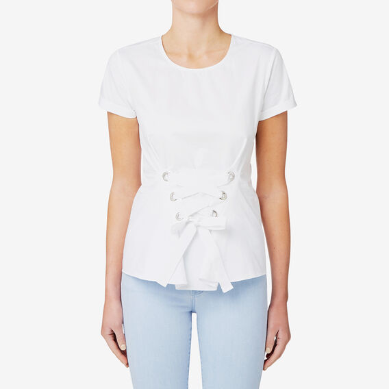 Lace Up Woven Tee  BRIGHT WHITE  hi-res