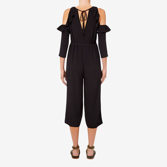 Cut Out Shoulder Jumpsuit  BLACK  hi-res