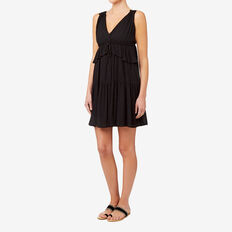V Neck Ruffle Dress  BLACK  hi-res