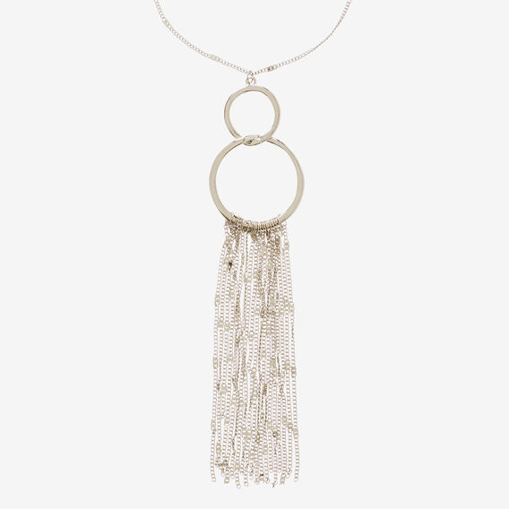 Ring Chain Tassel Necklace  SILVER  hi-res