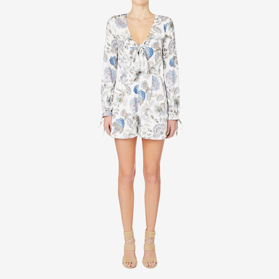 Printed Tie Front Playsuit  MULTI  hi-res
