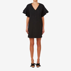 Frill Sleeve Shift Dress  BLACK  hi-res
