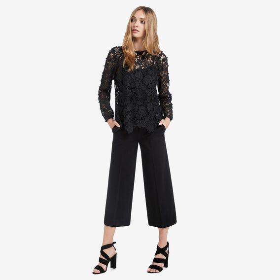 Open Sleeve Lace Blouse  BLACK  hi-res