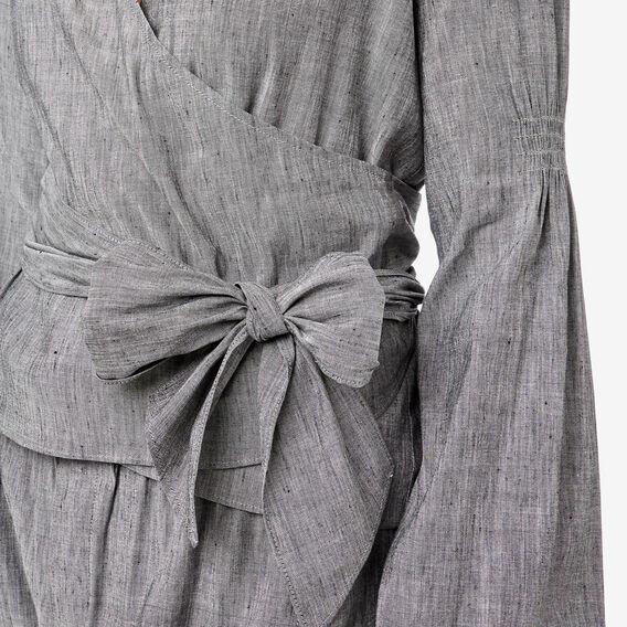 Blouson Sleeve Wrap Blouse  GREY CHAMBRAY  hi-res