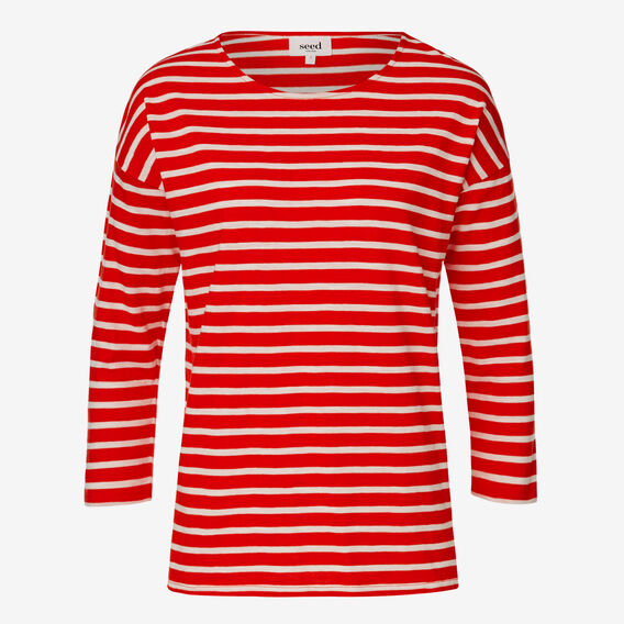 Easy Stripe Tee  RUBY RED STRIPE  hi-res