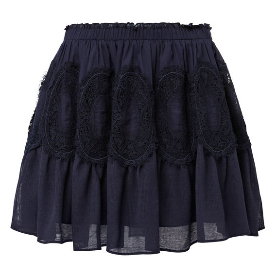 Lace Detail Skirt  INK BLUE  hi-res