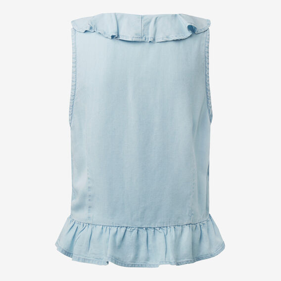 Ruffle Top  SUNBLEACHED CHAMBRAY  hi-res