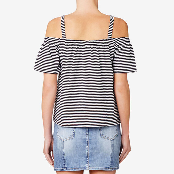 Floaty Slub Top  DEEP NAVY STRIPE  hi-res