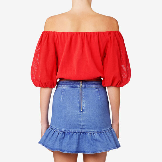 Blouson Sleeve Crop Top  ROYAL RED  hi-res