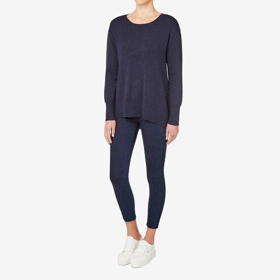 A Line Split Hem Sweater  INK BLUE  MARLE  hi-res