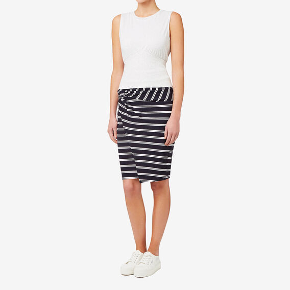 Knot Front Skirt  DEEP NAVY STRIPE  hi-res